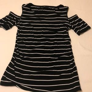 WHBM black and white striped top, shoulder cut out